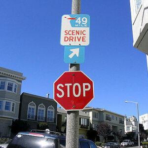 49 Mile Scenic Drive sign